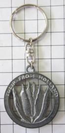 SLE608 sleutelhanger tulp in rond zilverkleur