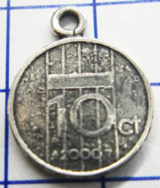 MHB054 5 stuks bedel dubbeltje verzilverd met hangoogje jaartal 2000