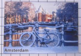 10 stuks koelkastmagneet Amsterdam  fiets sneeuw 18.989