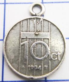 MHB049 5 stuks bedel dubbeltje verzilverd met hangoogje jaartal 1994