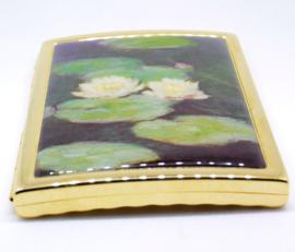 sigarettendoosje echt verguld met witte waterlelies Claude Monet