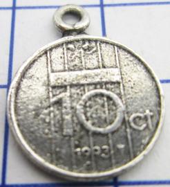 MHB048 5 stuks bedel dubbeltje verzilverd met hangoogje jaartal 1993