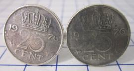 Manchetknopen verzilverd kwartje/25 cent 1976