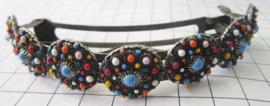 ZKG438-MC zwaar verzilverde haarspeld Zeeuwse knop met kleurige emaille, voor superdik haar