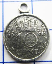 MHB020 5 stuks bedel dubbeltje verzilverd met hangoogje jaartal 1960