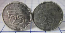 Manchetknopen verzilverd kwartje/25 cent 1993
