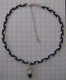 COL 015 Delftsblauwe koordjesketting met handgeschilderde delftsblauwe klomp