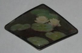 Haarspeld ruit Monet witte waterlelies HAD 002
