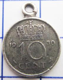 MHB014 5 stuks bedel dubbeltje verzilverd met hangoogje jaartal 1950