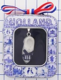 HAN 122 Collier delftsblauw klompje handgeschilderd