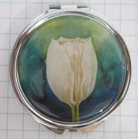 SPI 004 Spiegeldoosje witte tulp blauwe achtergrond