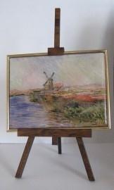SCH038 schildersezel 22 cm hoog , molen monet met tulpenveld