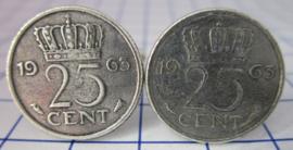 Manchetknopen verzilverd kwartje/25 cent 1963