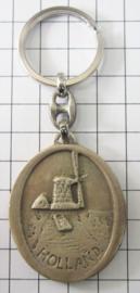 SLE604 sleutelhanger molen holland ovaal zilverkleur