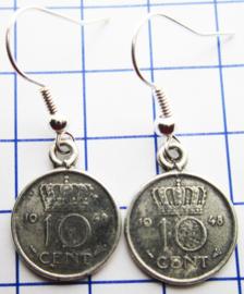 MOOR001 10 CENT 1948 oorbellen dubbeltje verzilverd