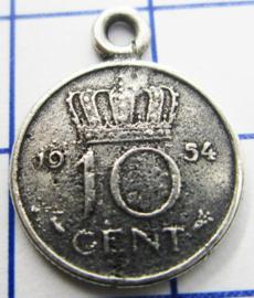 MHB016 5 stuks bedel dubbeltje verzilverd met hangoogje jaartal 1954