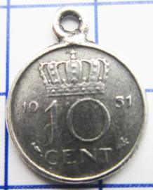 MHB015 5 stuks bedel dubbeltje verzilverd met hangoogje jaartal 1951