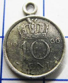 MHB024 5 stuks bedel dubbeltje verzilverd met hangoogje jaartal 1966