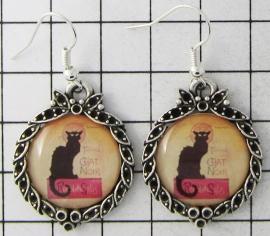 OOR 312  oorbellen zwarte kat