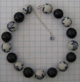COL 001 Delftsblauw collier handgeschilderde molenkralen