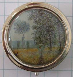 PIL 135 pillendoosje groen veld en vrouw, Monet