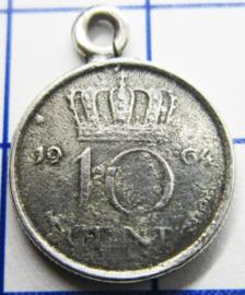 MHB022 5 stuks bedel dubbeltje verzilverd met hangoogje jaartal 1964