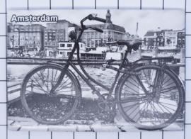 10 stuks koelkastmagneet Amsterdam  fiets zwart wit  winter MAC:19.011