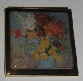 Verguld spiegeldoosje vierkant, Vincent van Gogh, bloemen