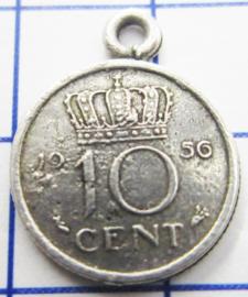 MHB017 5 stuks bedel dubbeltje verzilverd met hangoogje jaartal 1956
