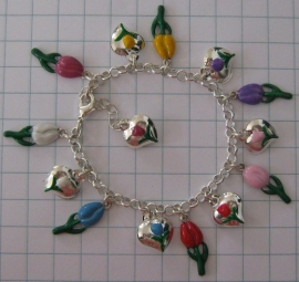 ARM 502 gekleurde tulpenarmband verzilverd