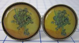 manchetknopen verzilverd afbeelding vaas irissen Vincent van Gogh MAK006