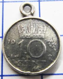 MHB029 5 stuks bedel dubbeltje verzilverd met hangoogje jaartal 1972