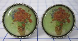 manchetknopen verzilverd afbeelding rood boeket Vincent van Gogh MAK013