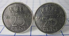 Manchetknopen verzilverd kwartje/25 cent 1972