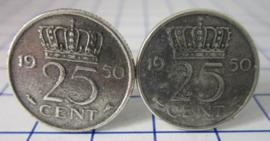 Manchetknopen verzilverd kwartje/25 cent 1950