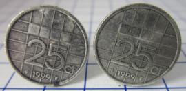Manchetknopen verzilverd kwartje/25 cent 1999