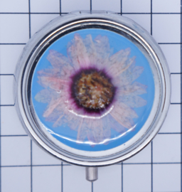 Pillendoosje met spiegeltje en echte gedroogde bloem erin gegoten