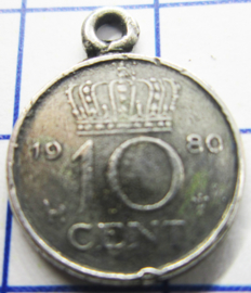 MHB037 5 stuks bedel dubbeltje verzilverd met hangoogje jaartal 1980