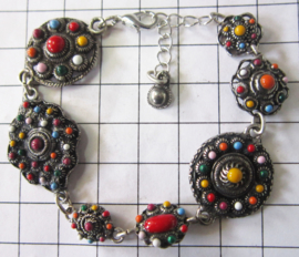 ZKA521-MC armband verschillende zeeuwse knopjes met multicolour emaille