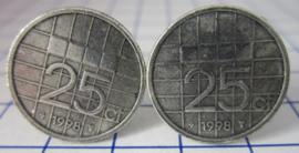 Manchetknopen verzilverd kwartje/25 cent 1998