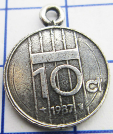 MHB042 5 stuks bedel dubbeltje verzilverd met hangoogje jaartal 1987