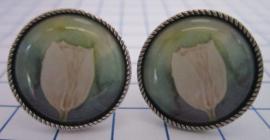 Manchetknopen verzilverd witte tulp MAK104