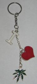SLE101 sleutelhanger i love hasjblad