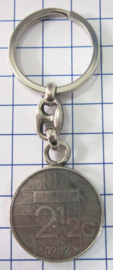 MSLE008 sleutelhanger rijksdaalder zwaar verzilverd, jaartal 1989