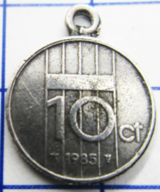 MHB040 5 stuks bedel dubbeltje verzilverd met hangoogje jaartal 1985