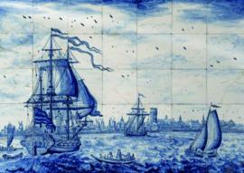 10 stuks poster op karton tegeltableau schip delftsblauw POS-0046 posters(20.8Cm / 29.5Cm)
