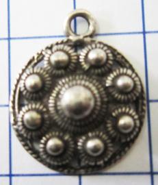 Zeeuwse platte knop met rand, 9 bolletjes, eenoog ZB017