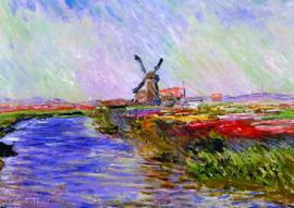 10 stuks poster op karton Molen Monet tulpenveld POS-0044 (20.8Cm / 29.5Cm)