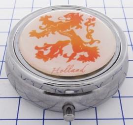PIL 509 pillendoosje met spiegel oranje leeuw Holland