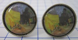 manchetknopen verzilverd afbeelding cafe Vincent van Gogh MAK005